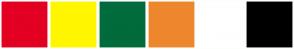 Color Scheme with #E30022 #FFF600 #006B3C #ED872D #FFFFFF #000000