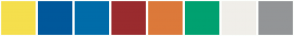Color Scheme with #F5DF4D #00589B #006CA9 #9A2B2E #DC793A #00A170 #F0EEE9 #939597