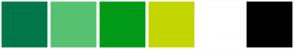 Color Scheme with #007749 #56C271 #009A17 #C4D600 #FFFFFF #000000