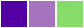 Color Scheme with #5200A3 #A675BF #86DB69