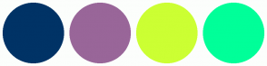 Color Scheme with #003366 #996699 #CCFF33 #00FF99