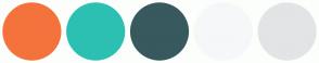 Color Scheme with #F4733D #2CC0B3 #38595E #F6F7F8 #E3E4E5