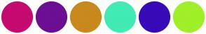 Color Scheme with #C50A70 #6C0F93 #C9891C #40EBB4 #380AB8 #A0EF28