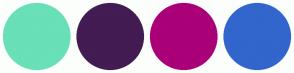 Color Scheme with #69E0B7 #421C52 #AA0078 #3366CC
