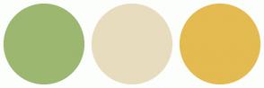 Color Scheme with #9CB770 #E8DCBE #E3BB50