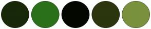Color Scheme with #182809 #2A7019 #040700 #2B350E #79913C