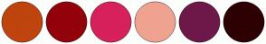 Color Scheme with #BF440E #93010B #D6215D #EFA290 #6E1849 #2D0003