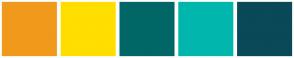 Color Scheme with #F1991B #FFDE00 #006666 #01B6AD #0A4958