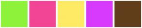 Color Scheme with #8EF23A #F24595 #FEEA65 #D83AFD #613E1B