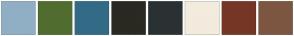Color Scheme with #90AFC5 #506D2F #336B87 #2A2922 #2A3132 #F3EBDD #763626 #7D5642