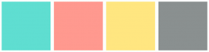 Color Scheme with #5FDED1 #FF998F #FFE680 #8A9090