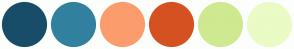 Color Scheme with #184D68 #31809F #FB9C6C #D55121 #CFE990 #EAFBC5
