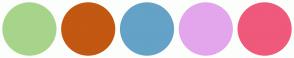 Color Scheme with #A7D48A #C25811 #64A2C7 #E3A6EC #EF597B