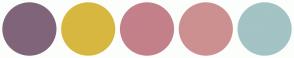 Color Scheme with #80657A #D7B740 #C4808A #CC9090 #A3C3C4
