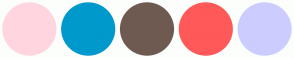 Color Scheme with #FFD6E0 #0099CC #6E5A51 #FF5959 #CCCCFF