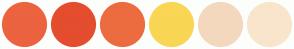 Color Scheme with #EC633F #E44D2E #EC6C3F #F9D654 #F3D8BD #F9E5CC