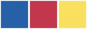 Color Scheme with #2760A7 #C2374C #F9E05F