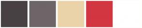 Color Scheme with #484043 #6E6568 #EAD3A8 #D23641 #FFFFFF