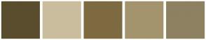 Color Scheme with #5A4D2D #CABD9E #7E6A41 #A4946D #8D8162