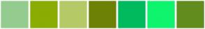 Color Scheme with #94CC8F #8AAD03 #B5CA67 #6D8204 #00BB5E #0FF46D #628D1E