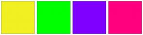Color Scheme with #F0F022 #00FF00 #7F00FF #FF007F