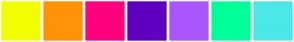 Color Scheme with #F2FF00 #FF9307 #FF007F #5F00BF #AA56FF #00FF99 #4DE7E7