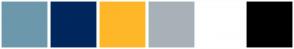 Color Scheme with #6D98AB #00275E #FEB729 #A8B1B8 #FFFFFF #000000