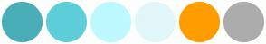 Color Scheme with #4AAEB8 #5ECED9 #BDF9FF #E2F7F9 #FF9D00 #ACACAC