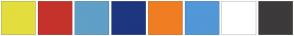 Color Scheme with #E3DE3D #C5322B #609FC7 #1E367E #F07D22 #5297D8 #FFFFFF #3C3A3A