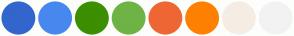 Color Scheme with #3366CC #4788EE #3B8F00 #6EB345 #EE6633 #FF8000 #F5EDE3 #F2F2F2