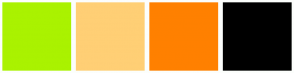Color Scheme with #AAF200 #FFCF75 #FF8000 #000000
