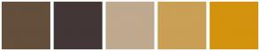 Color Scheme with #634F3B #433636 #BFA98F #CA9F56 #D3930E