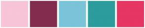 Color Scheme with #F7C4D8 #832D4E #7BC3D9 #2C9C9D #E63663