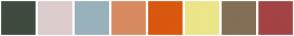 Color Scheme with #3E4B3E #DDCCCC #98B1BA #D88A60 #D9570F #ECE589 #836F55 #A34343