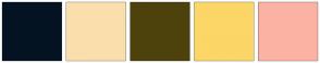 Color Scheme with #041322 #FADFAD #4E420C #FCD667 #FBB2A3
