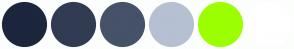 Color Scheme with #1C263C #313C53 #455268 #B6C0D2 #9CFF00 #FFFFFF