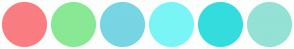 Color Scheme with #F97D81 #89E894 #78D5E3 #7AF5F5 #34DDDD #93E2D5