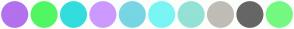 Color Scheme with #B371ED #51F762 #34DDDD #CC99FF #78D5E3 #7AF5F5 #93E2D5 #C0BCB6 #666666 #74F981