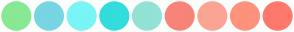 Color Scheme with #89E894 #78D5E3 #7AF5F5 #34DDDD #93E2D5 #F88379 #FBA493 #FF927C #FF786C