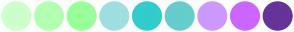 Color Scheme with #CCFFCC #B3FFB3 #99FF99 #9FDFDF #33CCCC #66CCCC #CC99FF #CC66FF #663399