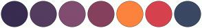 Color Scheme with #382C50 #543C5E #804C70 #85405D #FC833E #D6424E #3A4863