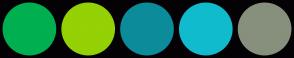 Color Scheme with #00AF50 #94D105 #0C8C9A #11BBCE #87907D