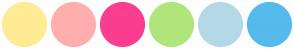 Color Scheme with #FFEC94 #FFAEAE #FA3E90 #B0E57C #B4D8E7 #56BAEC