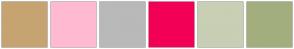 Color Scheme with #C6A472 #FFBAD2 #B9B9B9 #F20056 #C8CFB4 #A3AE7E