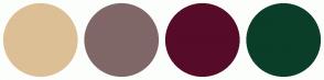 Color Scheme with #DDBF96 #806767 #560B29 #0A3E29