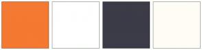 Color Scheme with #F57931 #FFFFFF #3C3B48 #FFFCF5