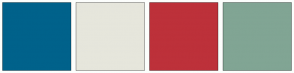 Color Scheme with #00628B #E6E6DC #BD313A #81A594