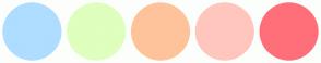 Color Scheme with #AEDDFF #DEFFBD #FFC39C #FFC6BD #FF6F79