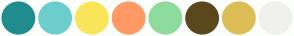 Color Scheme with #218C8D #6CCECB #F9E559 #FF9966 #8EDC9D #5A481C #DCBD56 #F0F0ED