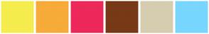 Color Scheme with #F5EC4E #F7AB39 #ED285A #783917 #D6CDB0 #78D6FF